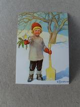 Julkort/Elsa Beskow/Gosse med skyffel